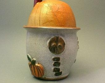 Cozy cottage fairy house, lidded jar, ceramic, flower pot