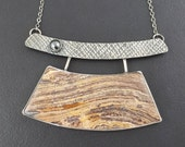 Petrified Wood Arch Necklace, large pendant, brown gray silver, modern, Asian, necklace, hematite, sterling silver, michele grady, boho