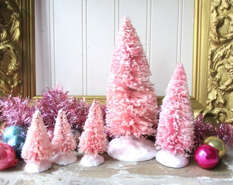 5 Pink bottle brush trees Vintage Style Frosted Glittered Mica Christmas Valentine Romantic Chic decor
