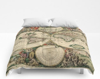 Old World Map Comforter, Vintage World Map Bedding, Map Bedspread, Decorative, Unique, World Map Decor, Guest Room, Antique Map Comforter