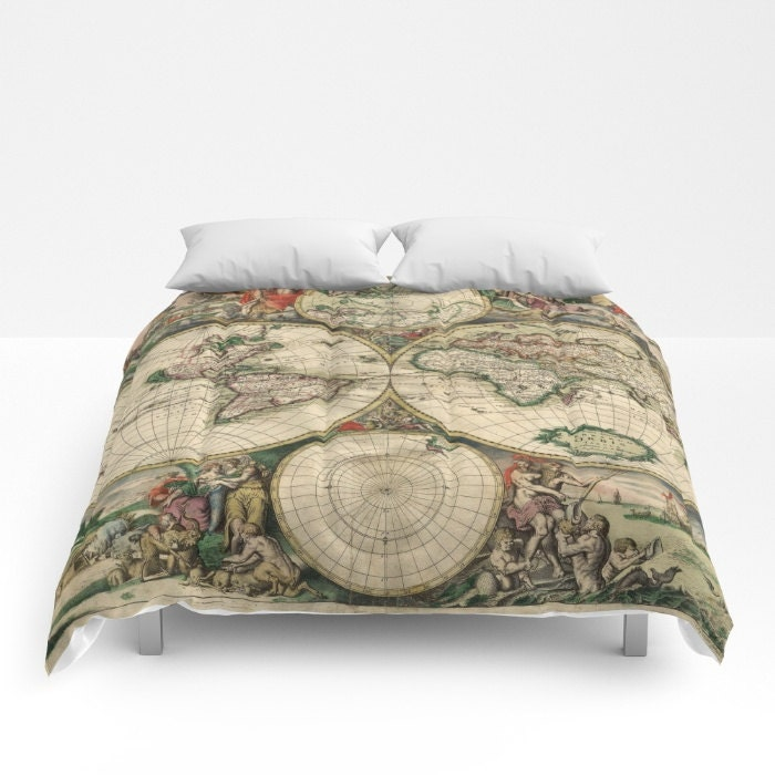 Old world map comforter vintage world map bedding map bedspread old world map comforter vintage world map bedding map bedspread decorative unique world map decor guest room antique map comforter gumiabroncs Gallery