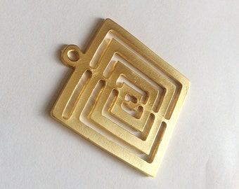 1pc- Matte Gold plated Huge Square Spiral Pendant- 63x53mm-(018-060GP)
