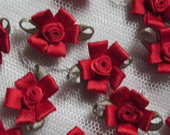 12 pc Valentine RED Satin Ribbon Fabric Flower Rose Bud Applique Shabby Chic Doll Baby Bow