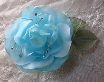 4.5 Inch Rhinestone Beaded Wired Blue Rose Flower w Leaf Bridal Bouquet Hair Accessory Pin