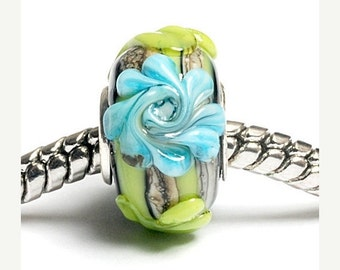 ON SALE 40% OFF Glass Lampwork Beads  - Large Hole Green w/Blue Flower Rondelle Bead  - Sc10038