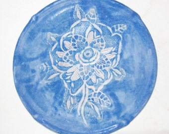 Lace Embossed Stoneware Plate Nine Inches In Diameter   with Embossed Floral Lace Decoration One of a Kind