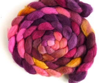 BFL Wool Roving - Hand Painted Spinning or Felting Fiber, Ranunculous Too