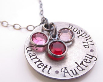 Hand stamped Necklace - Name Jewelry- Custom Mommy Necklace with birthstones - Personalized Necklace - Antiqued Loves
