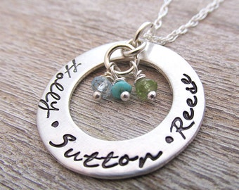 Family Necklace -Custom Name Necklace - Personalized Necklace - Mom Necklace - Circled In Love - Birthstone necklace - Grandma Necklace