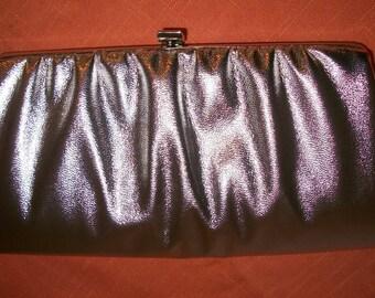 CUTE vintage 60s silver metallic clutch handbag convertible chain handle