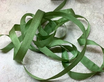 "7mm (1/4""wide"" Moss silk ribbon 5 yards #643 & 4mm available too!"