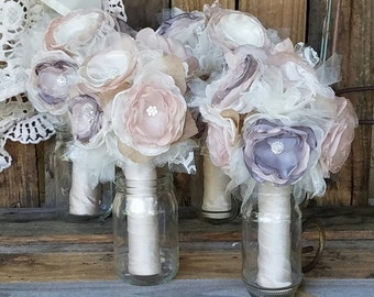 Bridesmaid bouquets, brooch bouquet ,Fabric  Bouquet, wedding flowers, throw bouquet, silk flower bouquets, artificial bouquet