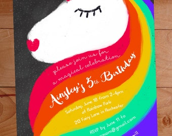 Rainbow Unicorn Invitation, Unicorn Birthday, Rainbow Birthday, Girl Unicorn Birthday Invite, Girl Birthday Invitation, Unicorn Party