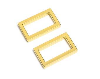 "100pcs - 1"" (25mm) Flat Zinc Square Ring - Gold - (FSR-109) - Free Shipping"