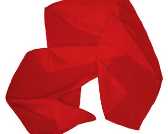 "Red 100% Habotai Silk Scarf - 8""x 54"" - Dyed"