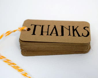 Thank You Hang Tags / Thanks Tags /  Favor Tags / Bridal Tags / Gift Tags / Tags with Twine / Handtied Tags / Thank You Tags / mad4plaid