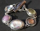 RESERVED remaining balance oOo opal, pink sapphire, titanium druzy, lemon citrine, and sterling silver metalwork link bracelet