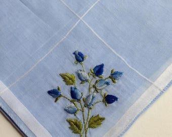 Vintage Hankie Handkerchief Floral Sewn Flowers Blue