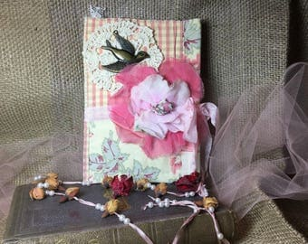 Vintage Quilt Covered Blank Journal Shabby Chic Mixed Media Art Style