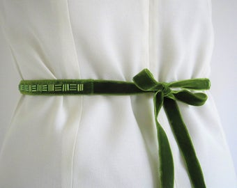 Green Beaded Velvet Belt, Adult Bridesmaid Sash, Wedding Belt, Beaded Narrow Sash, Womens Bridal Belt, Velvet Ribbon, Green Sash