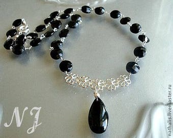 Black Spinel rosary sterling silver Necklace Pendant/ handmade chain rosary style necklace/Black Spinel handmade earrings.