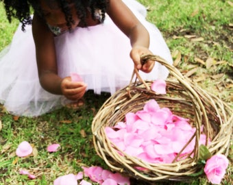 Large Rustic Flower Girl Basket, Wild Wisteria, Wicker Basket, Woodland Wedding, Lots of Petals, Ready to ship XL