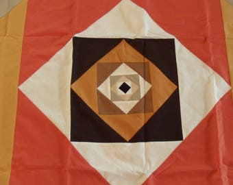"""New. Kona Cottons. Amish Quilt Top. 61x62"""". Machine Pieced. Graphic and Nice Fall Colors. All Cottons. Perfect Condition."""