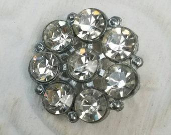Vintage Button - 1  large flower design rhinestone embellished, antique silver finish metal (feb 48 17)