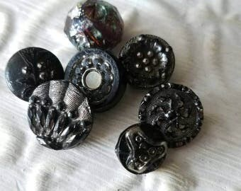 Vintage Buttons - lot of 7 assorted small sized pressed designs Victorian jet black with gold hand silver luster accents glass,(mar 88 17)