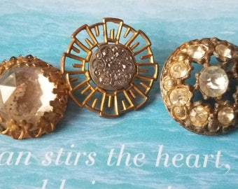 Vintage Button - 3 assorted designs rhinestone embellished,  antique bronze finish metal (apr 338 17)