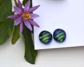 283 Fused dichroic glass earrings, sparkle, dark blue and green stripes