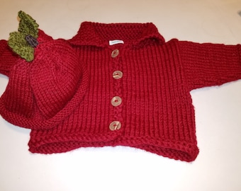 Reserved for Lois Red (Wine) Baby Cardigan, Matching Apple Hat, Gift for Baby, FREE SHIPPING Handknitted by hipknitta