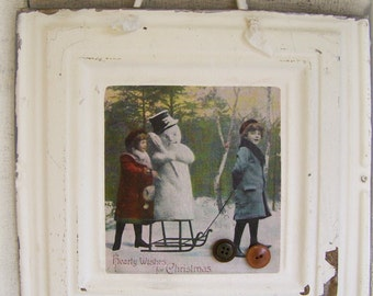 Victorian Christmas Ceiling Tin Art Hanging Repurposed Ceiling Tin Magnet Board Vintage Christmas Decor Architectural Salvage Winter White
