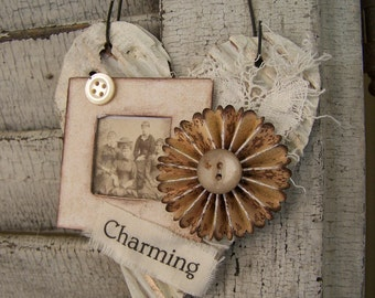 Shabby White Heart Ornament Vintage Collage Vintage Mixed Media Cottage Style Heart Wall Hanging Antique Paper Heart