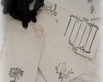 Handmade French Gift Tags Shabby White Tags Vintage White Cottage Style Shabby White Decor All Occasion Tags White Number Tags