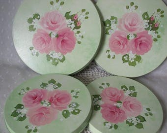 Stove top Burner Covers Hand Painted Pink Roses Kitchen Decor