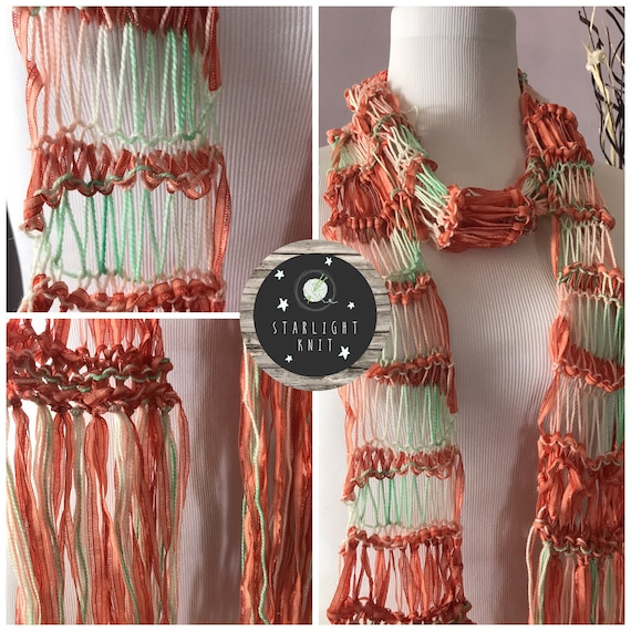 Hand Crafted Hand Knit Ladies Lightweight Fashion Accessory Scarf with Corals and light Greens