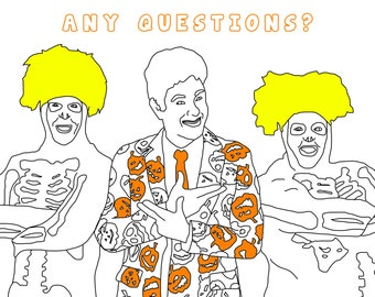 David S. Pumpkins Adult Coloring Page, Halloween Coloring Book, Digital Download Printable Coloring Page, SNL, Saturday Night Live