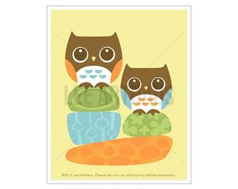 6A Owl Wall Art - Two Owls on Rocks Wall Art - Owl Print - Art for Children - Modern Nursery Art - Woodland Nursery - Owl Poster - Owl Gift