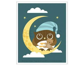 111A Owl Nursery Print - Owl with Teddy Bear Wall Art - Baby Boy Nursery Decor - Nursery Owl Art - Owl Print - Baby Boy Gift - Baby Decor