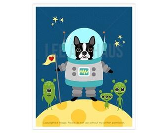 1D Boston Terrier Print - Boston Terrier Dog in Space Wall Art - Astronaut Print - Dog Print - Dog Wall Art - Boston Terrier Wall Art
