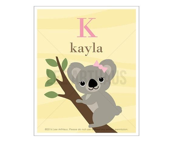 144P Koala Print - Pink Personalized Letter K Koala Wall Art - Koala Drawing - Baby Shower Gift for Girls - Pink Art - Art for Children