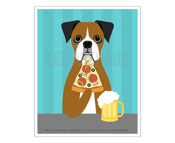 301D Pizza Print - White and Brown Boxer Dog Eating Slice of Pizza Wall Art - Pizza Poster - Beer Mug Print - Beer and Pizza - Boxer Print