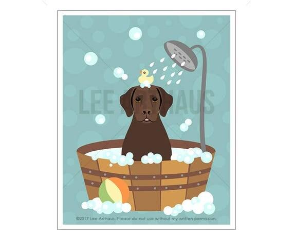 251D Dog Prints - Chocolate Labrador Retriever Dog in Bubble Bath Wall Art - Bathroom Art -Chocolate Lab Print - Bath Decor - Labrador Art