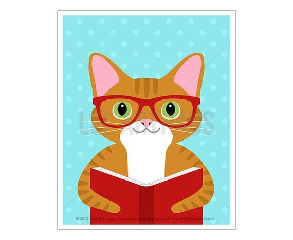307D Book Prints - Orange Tabby Cat Reading Book Wall Art - Cat Wall Art - Book Reading Print - Cat Lover Gifts - Book Nursery Decor