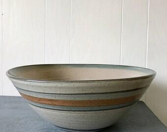 large handmade pottery mixing bowl - ceramic serving bowl - stoneware salad bowl