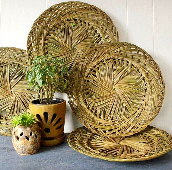 woven bamboo plate chargers - green wicker serving tray - boho flat wall basket - Set of 4