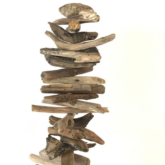 driftwood spinner - handmade natural wood mobile - beach nautical boho - balcony deck patio - Oregon Coast