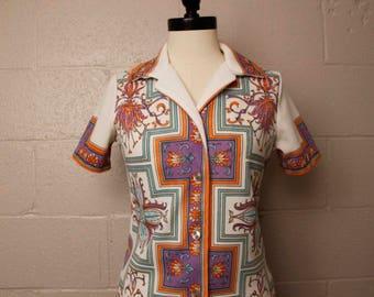 Vintage 1970's Trissi Purple Orange Aqua Button Down Shirt S