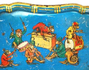 SCARCE 1900's Tin Litho Toy Tea Tray, Band of 7 monkey musicians.